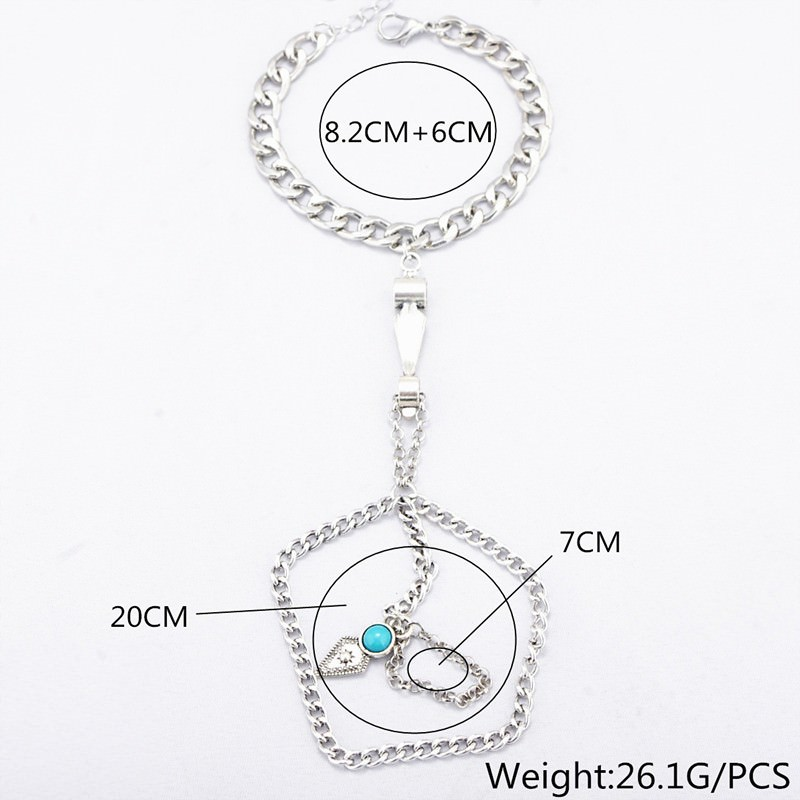 8857-0b16e18e52da08546aa7d91f3cfc6394 Multi-layer Hand Slave Jewelry With Rhombus And Turquoise Accent