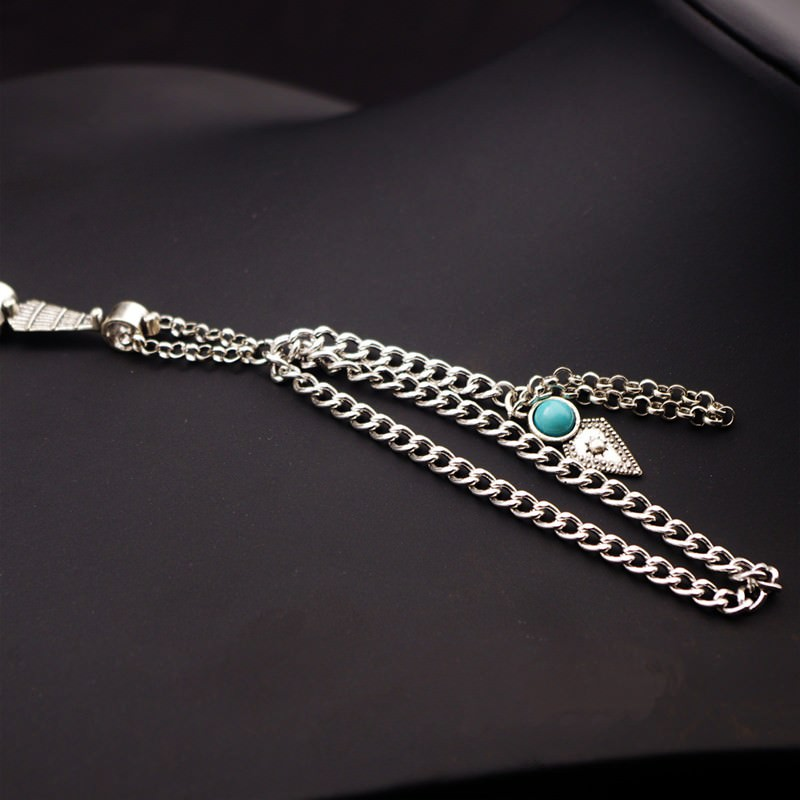 8857-4b331200bbc3accccc4e86db9125774c Multi-layer Hand Slave Jewelry With Rhombus And Turquoise Accent