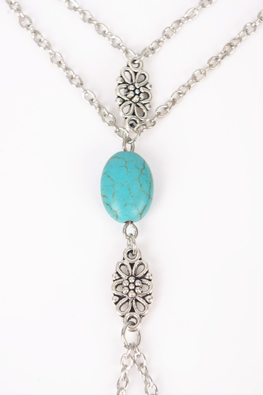 8861-c7e3a9c4a9a3a5b82d31fcf71b33e9ac Summer Hand Slave Chain Jewelry With Flower And Turquoise Accent