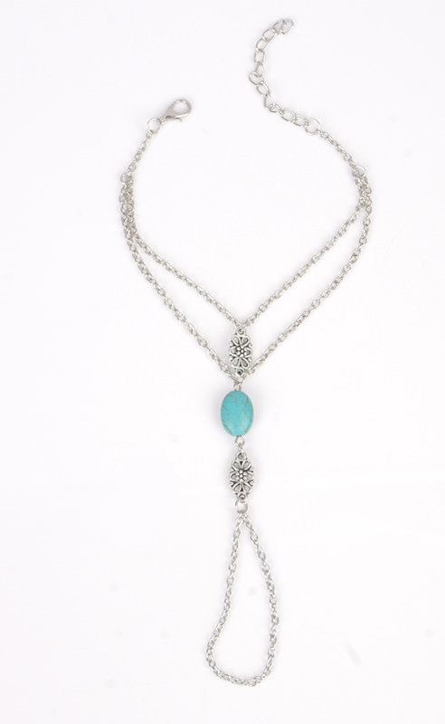 8861-e9d5eae6f97e349a275d258234cce20c Summer Hand Slave Chain Jewelry With Flower And Turquoise Accent