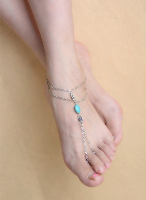 8861-ea6ea91d342509a25fb173c1fab0c60a Summer Hand Slave Chain Jewelry With Flower And Turquoise Accent