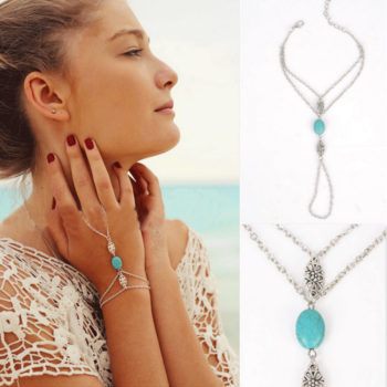 Summer Hand Slave Chain Jewelry With Flower And Turquoise Accent