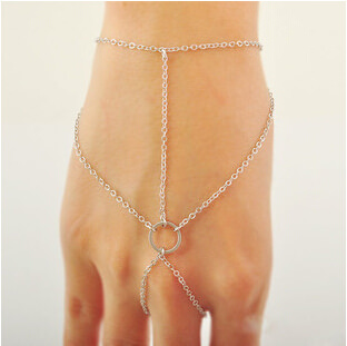 Simple Geometric Chained Hand Slave Jewelry With Circular Accent