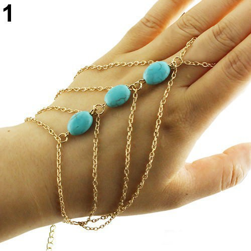 8864-35522b85062c33415b3cc1e5eec0010b Multi-layer Gold Plated Hand Slave Chain With Turquoise Beads