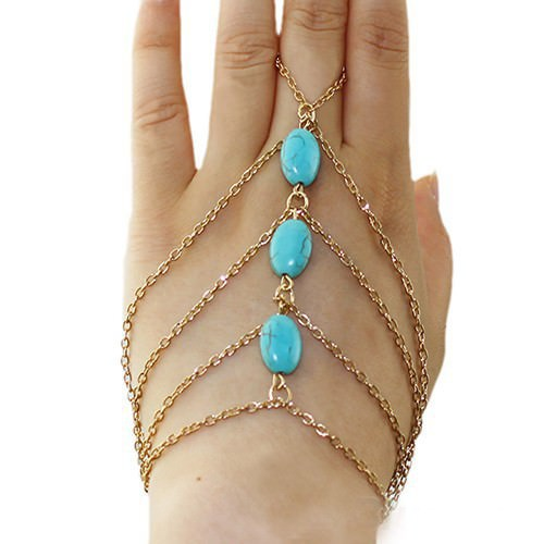 8864-55433a3d965cd9bc277e3f395a59d5df Multi-layer Gold Plated Hand Slave Chain With Turquoise Beads