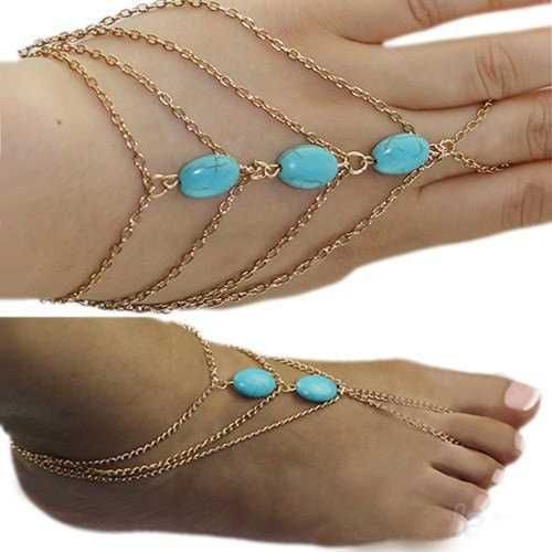 8864-75def3294d92e2245cdea1e50f4c92a6 Multi-layer Gold Plated Hand Slave Chain With Turquoise Beads