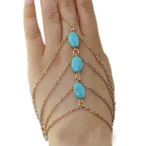 8864-b3c724c2aebc27442ffa5e4ff259c580 Multi-layer Gold Plated Hand Slave Chain With Turquoise Beads