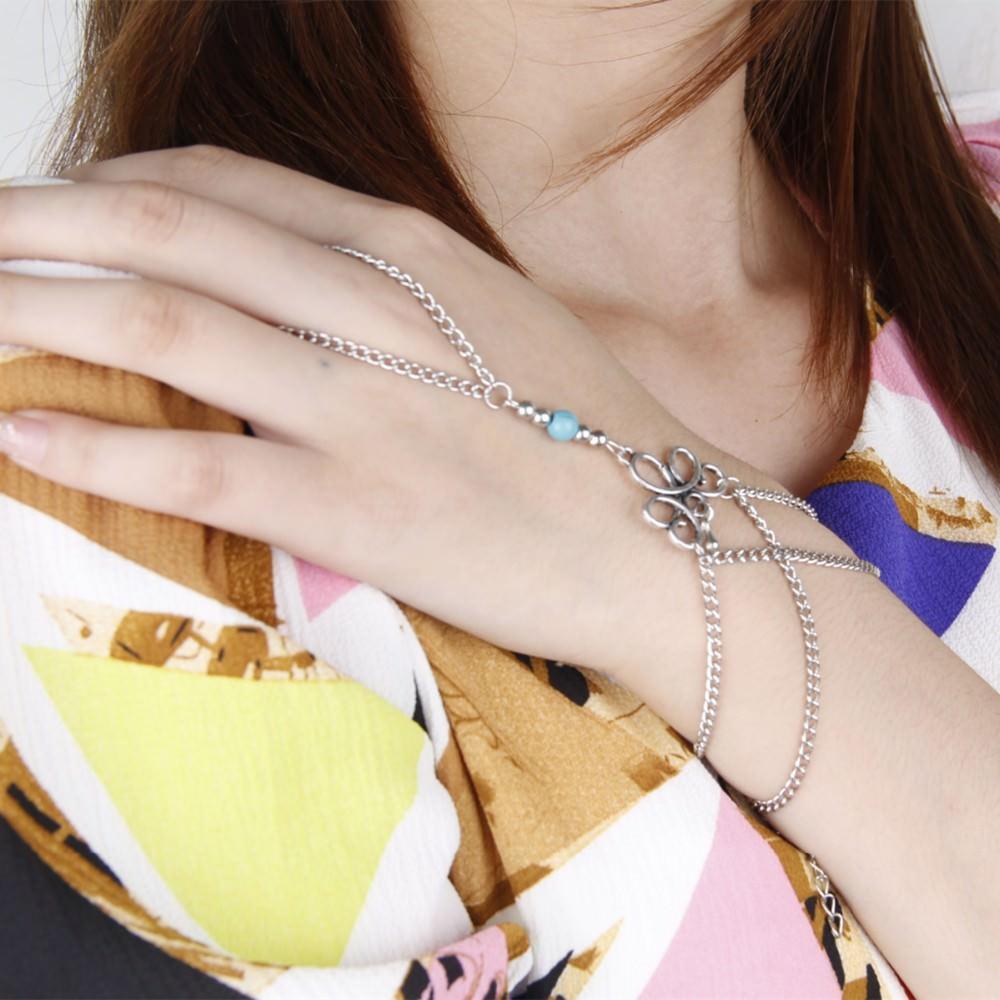 8870-33771d4e57e04d7bd86272b0bf52e652 Bohemian Hand Slave Chain Jewelry With Fleur De Lis Accent