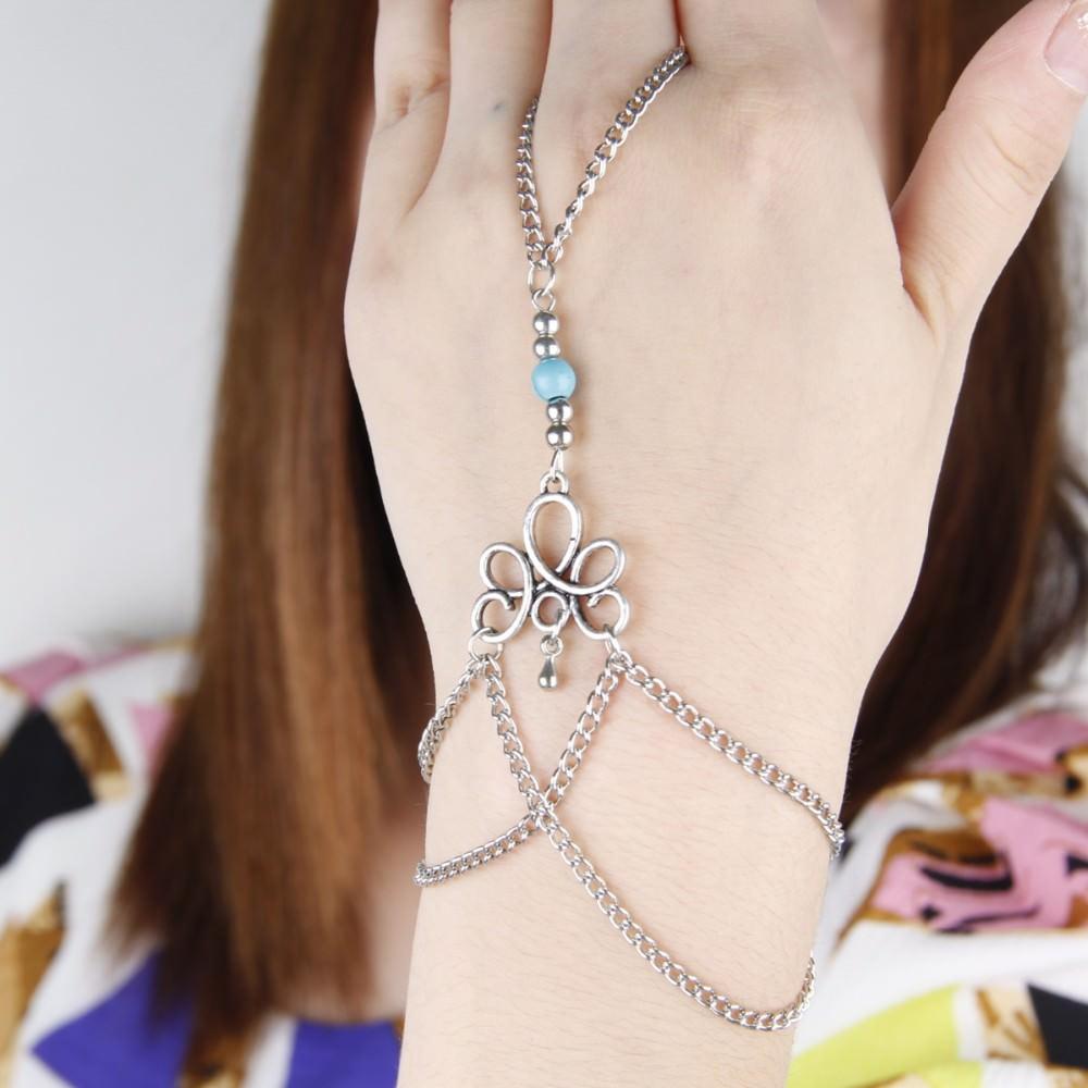 8870-5f5a41d5afa86a826f90f1823d4b1408 Bohemian Hand Slave Chain Jewelry With Fleur De Lis Accent