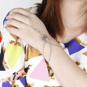 Bohemian Hand Slave Chain Jewelry With Fleur De Lis Accent