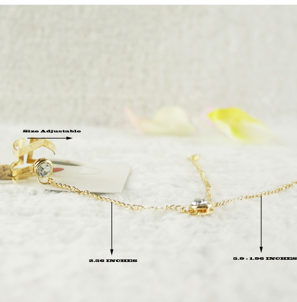 8871-2499e2f3c0f117c9895d764e1e386156 Gold Plated Double Ring Jewelry With Crystal And Slave Chain Bracelet