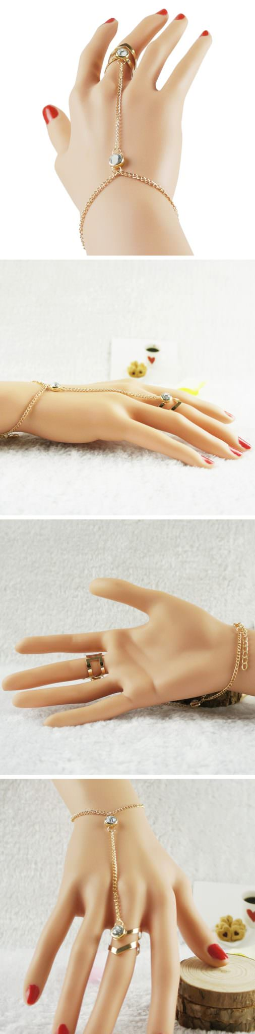 8871-8f6bab687a72790c46be02cb7bc62bca Gold Plated Double Ring Jewelry With Crystal And Slave Chain Bracelet