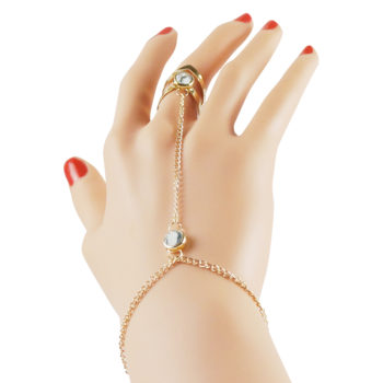 Gold Plated Double Ring Jewelry With Crystal And Slave Chain Bracelet