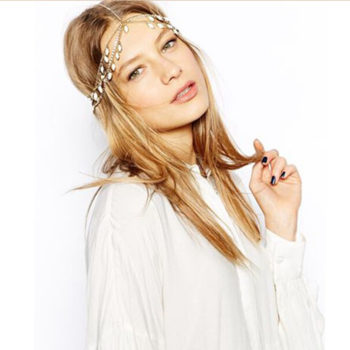 Elegant Gold Plated Bridal Chain Head Jewelry With Rhinestone Gems