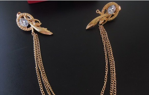 8879-32cfc97da55319c1e39b0a676a833491 Gold Plated Chain Hair Clip Head Jewelry With Feather And Crystal Accent