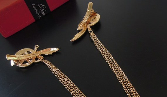 8879-44f1740b091f9aa1d6eac66e816c88ad Gold Plated Chain Hair Clip Head Jewelry With Feather And Crystal Accent