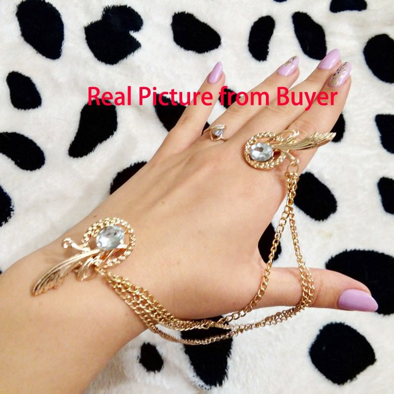 8879-65df76d05d1e757bd84fa96b34e23866 Gold Plated Chain Hair Clip Head Jewelry With Feather And Crystal Accent