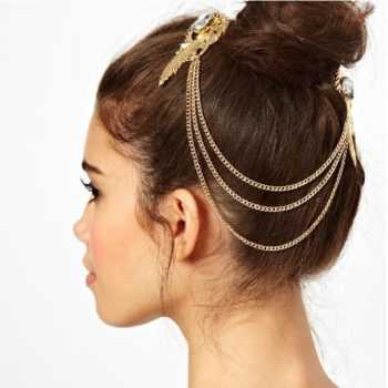 Gold Plated Chain Hair Clip Head Jewelry With Feather And Crystal Accent