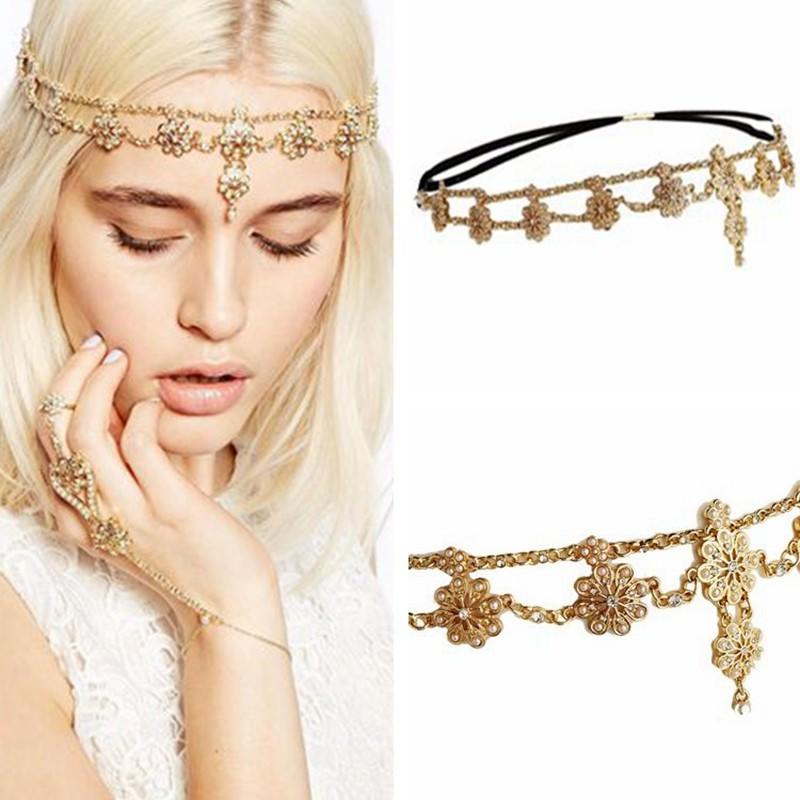8884-59af0b568c5aaf07de894e0f3b8df989 Double Layered Flower Pearl And Rhinestone Elastic Head Jewelry