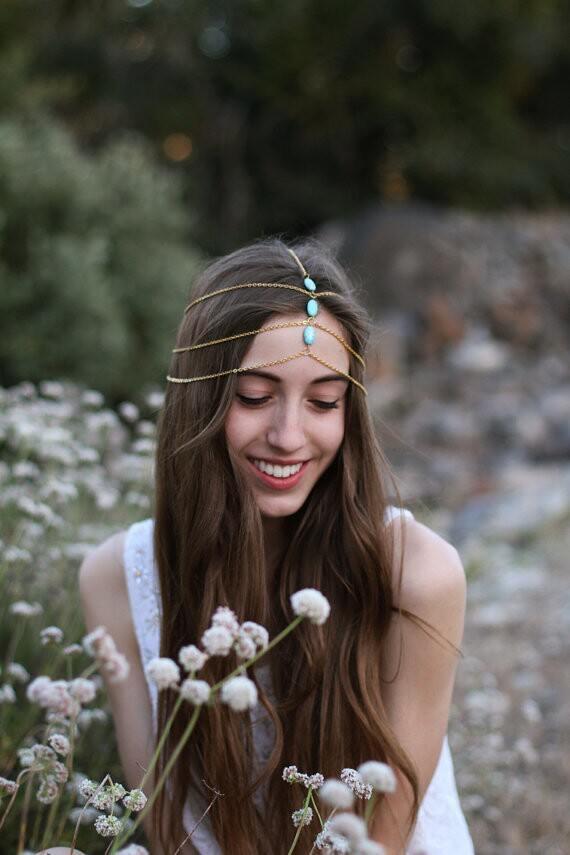 8893-1faecfbcdba5e6e69c57e27abf5c06ae Multilayer Boho Head Jewelry Chain With Turquoise Pendants