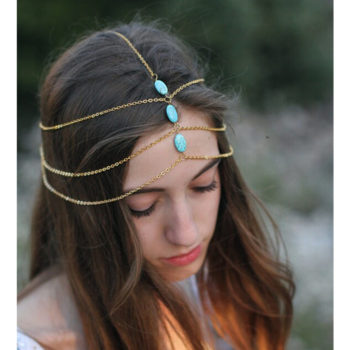 Multilayer Boho Head Jewelry Chain With Turquoise Pendants