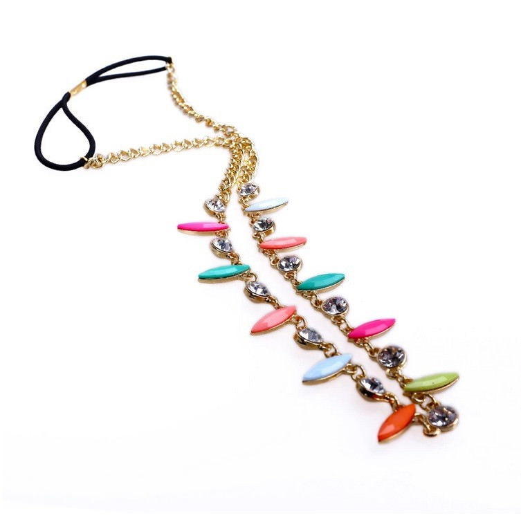 8896-ac6db8cd30f38a3861a664b92b1be2a9 Retro Celebrity Head Jewelry Chain With Colorful And Crystal Pendants