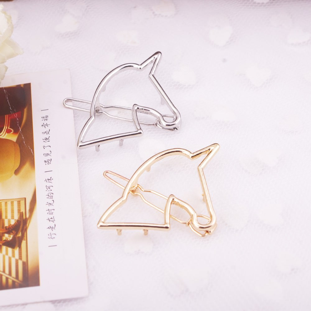8898-8de99366e3e1d275be3415b7dad478d4 Unique Hollow Unicorn Hair Clip Head Jewelry For Women