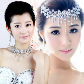 Crystal Floral Bridal Head Jewelry With Matching Earrings