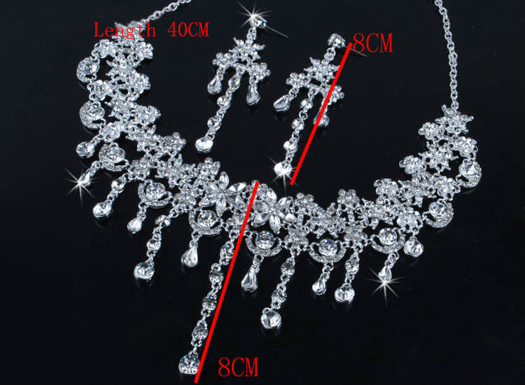 8900-9cdfa9b5b9608826bd0b16c1d8476188 Crystal Floral Bridal Head Jewelry With Matching Earrings