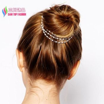 Classy String Of Faux Pearls Hair Pin Head Jewelry