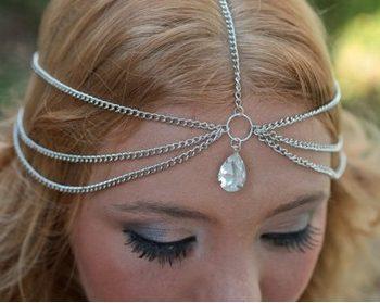 Boho Head Jewelry Chain With Teardrop Shaped Crystal Pendant