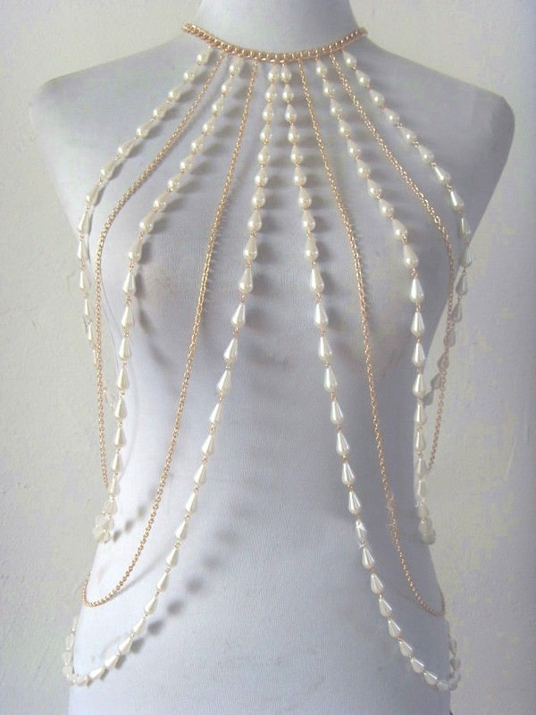 Faux Pearl And SilverGold Chain Body Harness