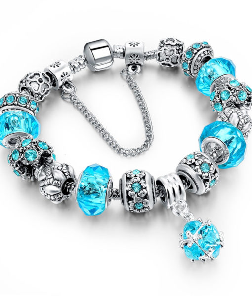 Charm Bracelet Chain With Bead And Pendant