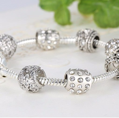 Simple Charm Bracelet Chain With Crystal Beads