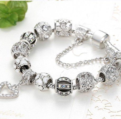 Silver Charm Bracelet Chain With Heart Pendant Charm