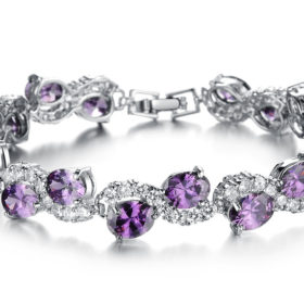 Big Purple Oval Crystal Filled Bracelet