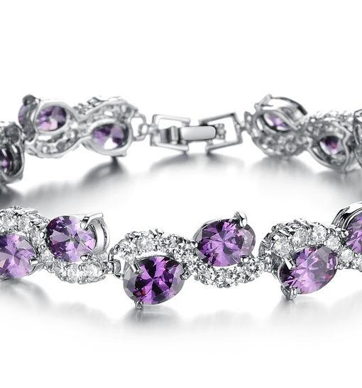 Big Purple Oval Crystal Filled Bracelet