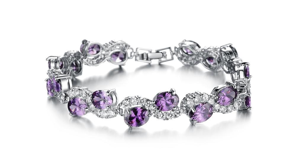Romantic Big Purple Oval Crystal Filled Bracelet Jewelry For Women