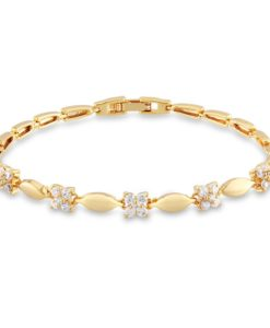 Luxury 18K Gold Plated Chain Bracelet for Women White AAA Cubic Zircon Wedding Crystal Jewelry