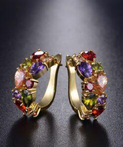 Multicolor Cubic Zircon Earring Hinged Earring Jewelry For Women