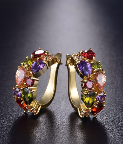 Multicolor Cubic Zircon Earring Hinged Earring Jewelry For Women