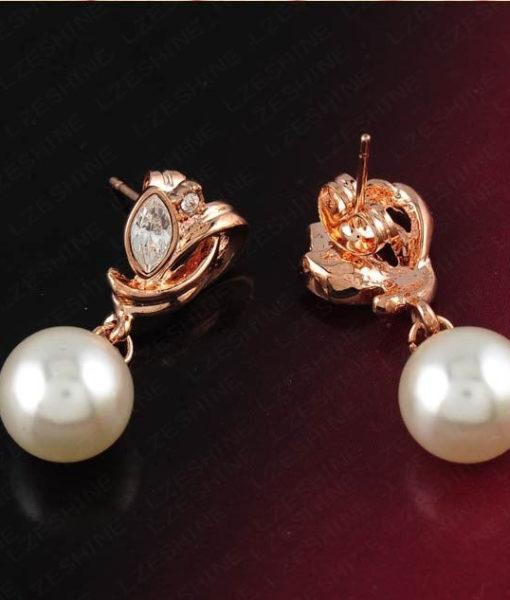 Pearl Drop Austrian Crystal Flower Earring Jewelry