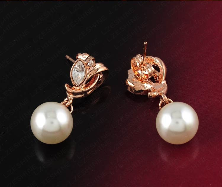 Pearl Drop Austrian Crystal Flower Earring Jewelry