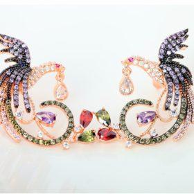 Gemmed Mystical Bird Push Back Earring Jewelry