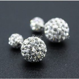 Sterling Silver Rhinestone Double Ball Earring