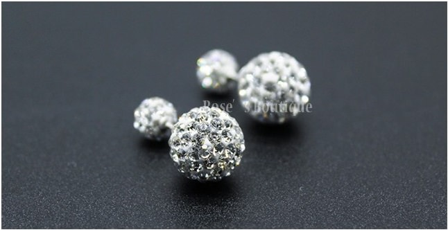 Sterling Silver Rhinestone Double Ball Earring