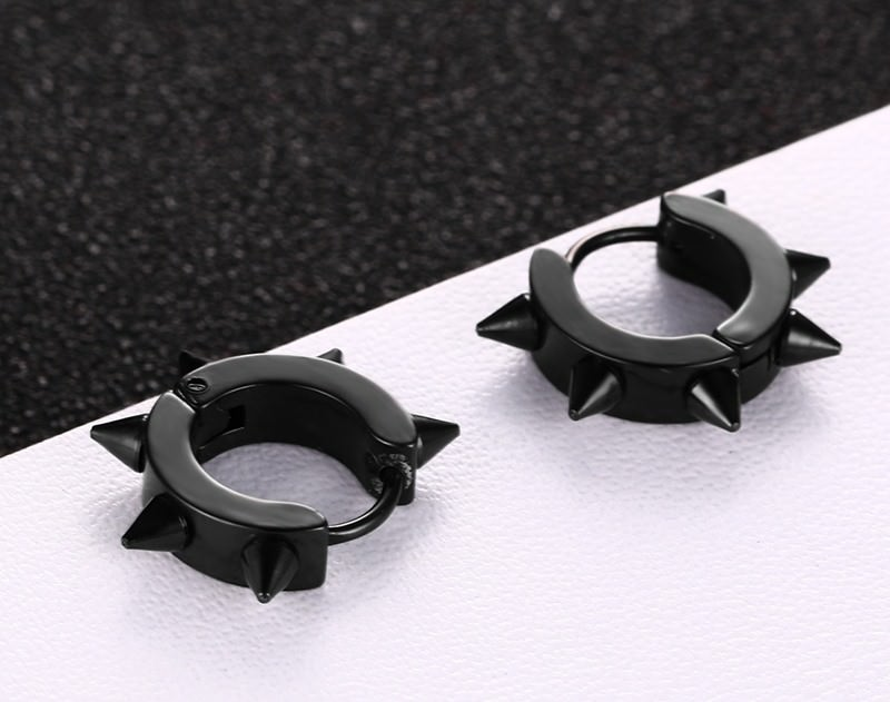 Studded Punk Hoop Huggie Earring Jewelry For Men Or Women
