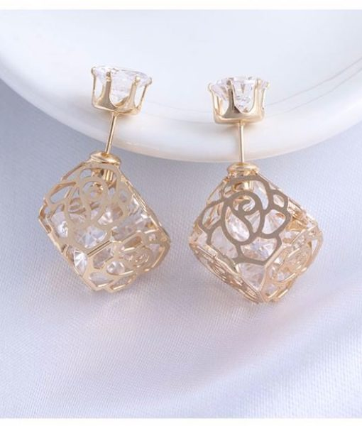 Trendy Double Sided Earring Jewelry With Rhinestone Diamonds