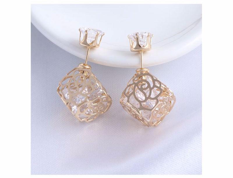 Trendy Double Sided Earring Jewelry With Rhinestone Diamonds
