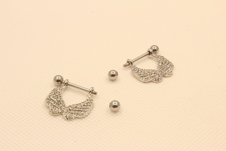 2 Pcs Elegant Gemmed Wings Nipple Shield Body Piercing Jewelry